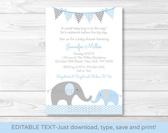 Blue Elephant Chevron Baby Shower Invitation / Blue & Grey / INSTANT DOWNLOAD Editable PDF