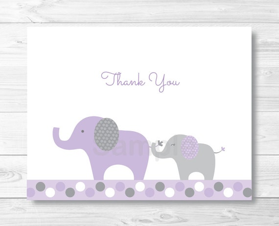 Purple Elephant Thank You Card / Elephant Baby Shower / Purple ...