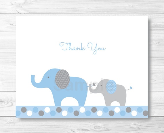 Elephant Thank You Card / Elephant Baby Shower / Polka Dot Pattern ...