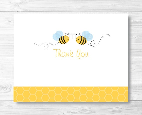 Bumble Bee Thank You Card Template Folded Baby Shower PRINTABLE Instant Download A214