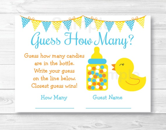 Perfect Rubber Duck Guess How Many Baby Shower Game / Rubber Duck Baby Shower /  Rubber Duck Shower Game / INSTANT DOWNLOAD A276