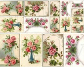 Shabby Chic Pink Roses collage sheet for scrapbook and cards DC431