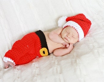 Crochet Christmas Baby Santa Pants and Hat, Baby Photo Prop, You pick size, Ready to Ship