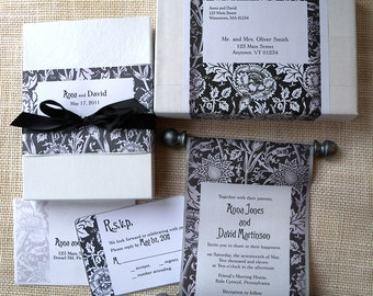 Elegant Wedding Invitation in Black and White, Boxed Fabric Scroll, Wedding Invitation Suite, Floral Damask Scroll {100}