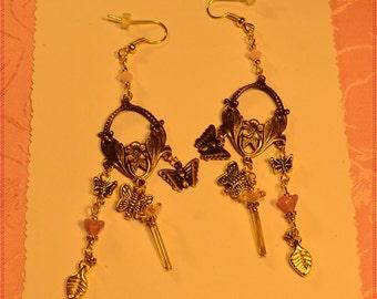 Pink Spring Flower Crystal Earrings