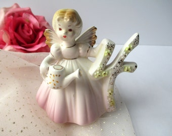 Sweet Vintage Josef Pink Birthday Girl Four Angel Figurine