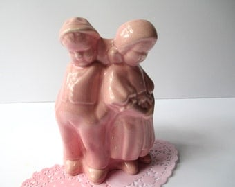Sweet Vintage Pink Ceramic Boy Girl Planter