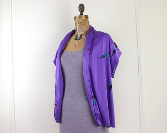 vintage 1970s purple parrot summer jacket - open style, short cap sleeves, blazer, bohemian vest - black, deep red, teal blue - osfm
