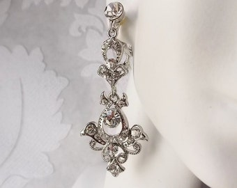Victorian Chandelier ClipOn Earrings for Bride Rhinestone Statement Jewelry Crystal Dangle Clipons