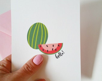 Stationery - Watermelon - Watermelon Card - Hello - Spring - Notes - Teacher Gifts  - Colorful - Fruit