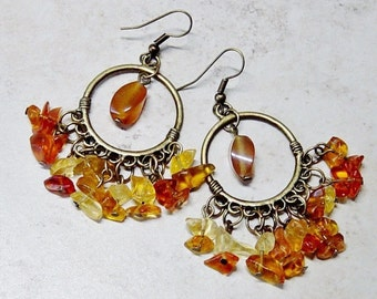 Amber Glass Bead Earrings, Antique Brass Hoop Earrings, Beaded Hoop Earrings, Amber Agate Bead Earrings, Boho, Chandelier Earrings