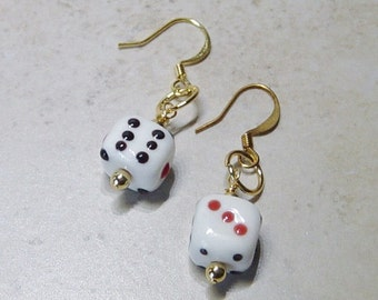 Dice Earrings, Glass  Dice Bead Earrings, Gamblers Gift, Las Vegas, Casino, Gold Earrings