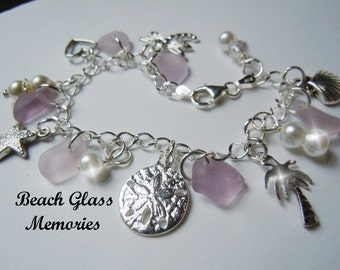 Sea Glass Bracelet Sterling Silver Light Lavender Sea Beach Glass Jewelry Seaglass Charm Bracelet