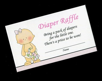 Diaper Raffle Tickets - Diaper Raffle Inserts - Baby Shower Game - Baby Girl -  Pink - Set of 25
