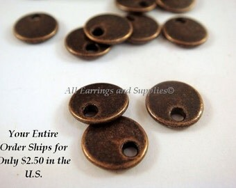 20 Flat Round Drop 8mm Antique Copper LF/NF - 20 pc - M7040-AC20 - Select Qty
