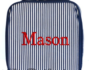 Personalized Lunch Bag Navy Pinstripe Monogrammed School Snack Box