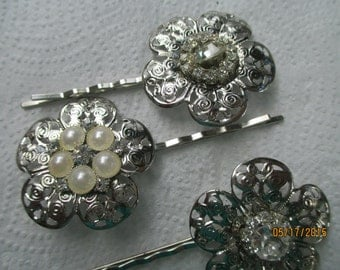Bridal Bobby Pins   Silver Pearl and Rhinestone   Special Event  Hair Pins