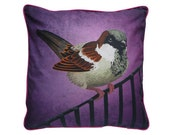 XL Cushion cover for throw pillow with bird - Sparrow - 24x24inch // 60x60cm