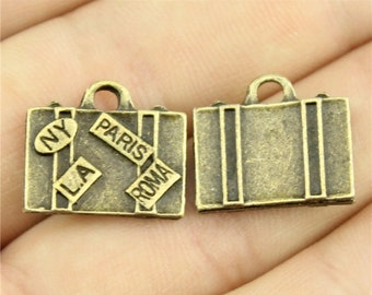 5x (15mm x 17mm) Antique Bronze Trunk Suitcase Luggage Charms