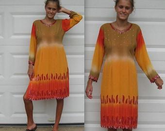 Firefly Dress / BeadedChiffon Dress / Indian Dress / Fiery Passion Dress/ Ethnic Wiggle Dress