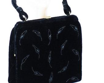 Vintage 1960s Evening Handbag Black Velvet Beaded by Soure