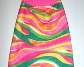 Micro Fiber Hanging Towel - Fun and Funky Design - Hot Pink, Orange, and Green Stripes - Super Absorbent Micro Fiber Towel - Dish Towel
