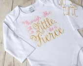 Though she be but little, Girl coming home outfit, Name Embroidered Baby bodysuit