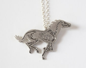 Horse Necklace - Horse Charm - Horse Jewelry - Equestrian - Horse - Horse Skull - Galloping Horse