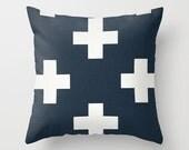 Swiss Cross Pillow Cover Navy Pillow Nautical Pillow Throw Pillow Accent Pillow Size Choice