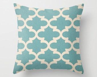 Pillow Cover Decorative Pillows Quatrefoil Throw Pillows Blue Pillow Moroccan Pillow 16x16 18x18 20x20 22x22