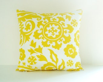 Yellow Pillow Cover Suzani Pillow Decorative Pillow Size Choice Throw Pillow Accent Pillow