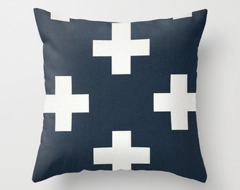 Swiss Cross Pillow Cover Navy Pillow Nautical Pillow Throw Pillow Accent Pillow Size Choice