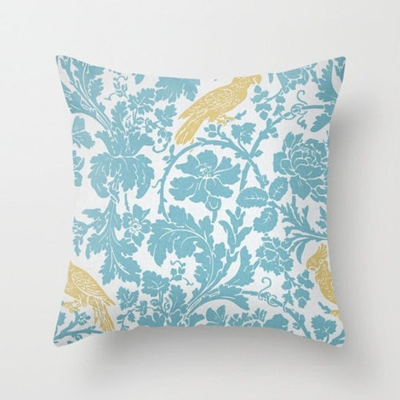 Decorative Pillows With Bird Design : Bird Pillow Covers Blue Decor Floral Pillows Decorative Pillow