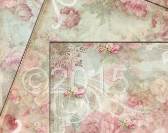 Shabby Rose Gorgeous Paper - 8.5 x 11 inches - Printable Digital Collage Sheets - Download - Crafts, Scrapbooking and More