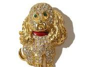 Vintage KJL Dog Brooch Swarovski Crystal Spaniel Pin - Retired Design QVC
