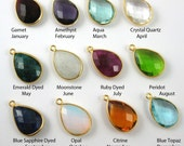 Birthstone Pendant,Gemstone Pendant-Gold Plated Sterling Silver Charms,Birsthstone Charm,Bezel Set-Pear Shape -22mm by 11mm( 2 pcs) 201101