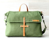 "Unisex Canvas Laptop Bag, Green Men Bag, EXPRESS SHIPPING, Macbook 13"" Pocket, Olive Messenger Bag, Men, Women, Genuine Leather Crossbody"