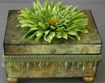 Olive Paisley Swirl Keepsake Trinket Jewelry Decorative Box