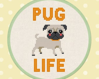 Pug Life. Cute Pet Dog Modern Simple Sweet Counted Cross Stitch Pattern PDF File. Instant Download