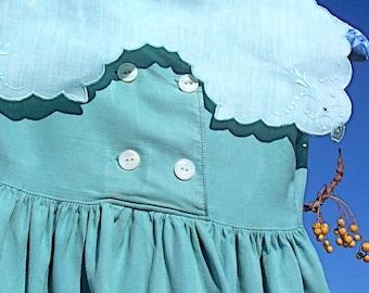 Vintage Baby Dress Jade Green Linen Collar Toddler Kinder