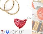 Wire Crochet Kit OPAL , 2 wire crochet patterns in Video and PDF, 5 copper wire spools, 1 crochet hook, full ISK set