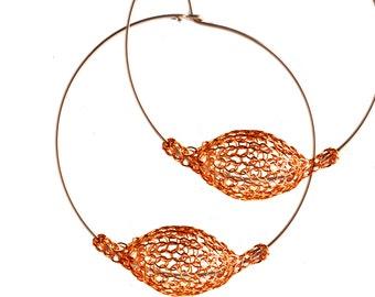 ORANGE hoop earrings, Extra Large hoops,  Unique hoop earrings, Wire Crochet Large Statement Earrings- Gypsy bohemian fashion