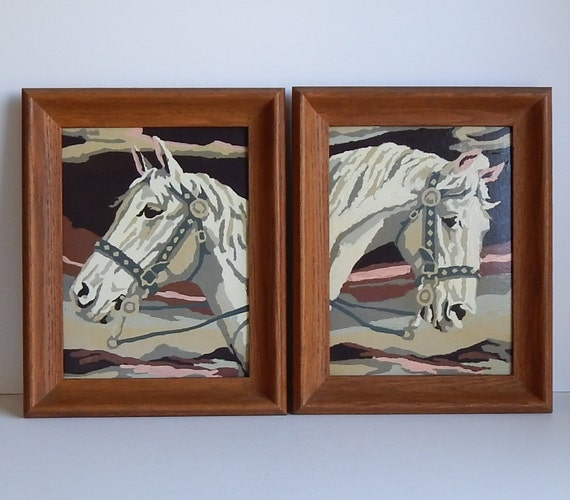 Pair 1950s Paint By Numbers Horse Heads