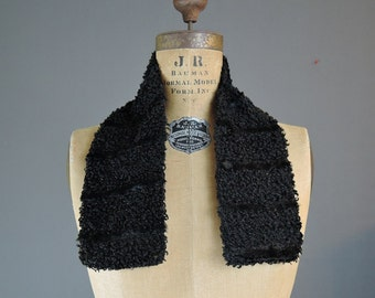 Victorian 1800s Coat Collar Curly Wool with Plush Satiny Stripes, 28x4 inches, Vintage Faux Fur