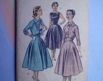 Vintage 50s Full Skirt Dress Spencer Jacket Pattern 31