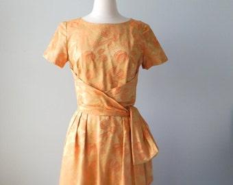 Damask dress | vintage 1950s dress • gold brocade 50s dress