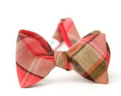 firey coral plaid freestyle bow tie