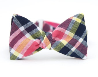 hot pink & navy madras freestyle bow tie