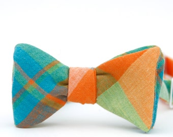 sherbet plaid freestyle bow tie