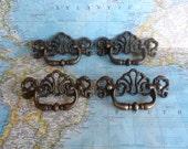 SALE! 4 vintage fancy design brass metal pull handles